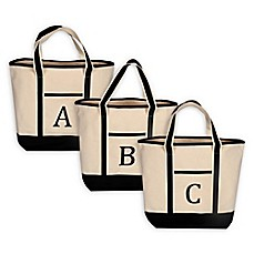 image of Monogram Embroidered Block Letter Large Canvas Tote Bag