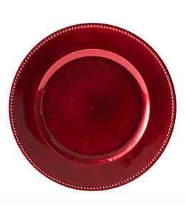 Platos de plástico base decorativos color rojo, Set de 6