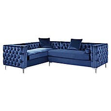image of Chic Home Astrid Left Facing Sectional Velvet Sofa  sc 1 st  Bed Bath u0026 Beyond : sofa chaise bed - Sectionals, Sofas & Couches