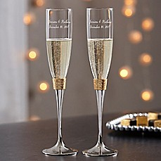 Image Of Gold Hammered Engraved Wedding Champagne Flutes Set 2