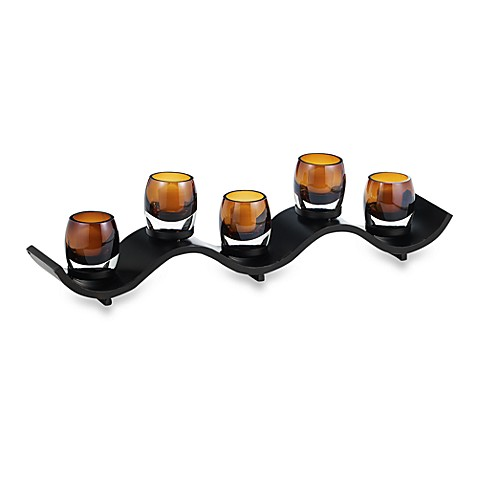 image of Solaris Wave Votive Centerpiece. Candle Holders   Votive  Glass  Crystal   Tea light Holders   Bed
