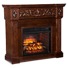 image of Southern Enterprises Calvert Carved Infrared Electric Fireplace