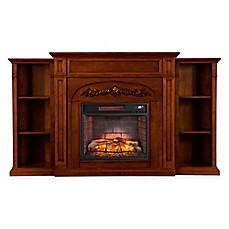 image of Southern Enterprises Chantilly Bookcase Infrared Electric Fireplace in Oak