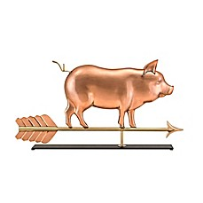 image of Good Directions Country Pig Weathervane Sculpture in Copper