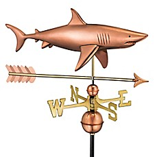image of Good Directions Shark with Arrow Weathervane in Copper