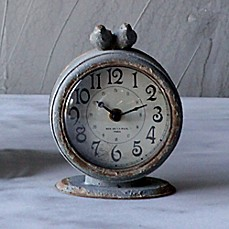 image of 6-Inch Round Pewter Mantle Clock with Bird in Grey