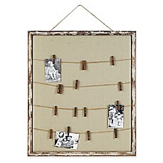 image of Wood and Fabric 28-Inch x 32.13-Inch Memo-Holder Frame with Twine and 16 Pins in Distressed Brown
