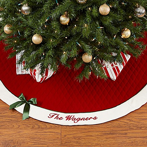winter classic personalized quilted christmas tree skirt with bow