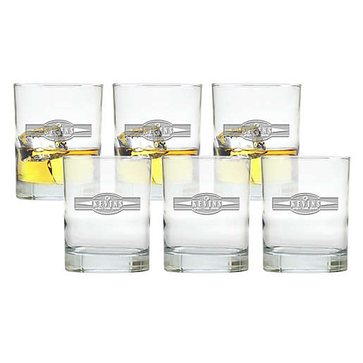 Carved Solutions Sports Food Double Old Fashion Glasses (Set of 6)