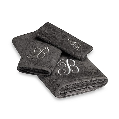 Avanti Premier Silver Script Monogram Bath Towel Collection in Granite