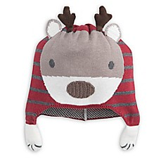 image of Elegant Baby® Size 0-12M Reindeer Aviator Hat in Red/Grey