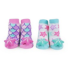 image of Waddle Size 0-12M 2-Pack Starfish Rattle Baby Socks in Pink/Aqua