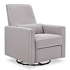 image of DaVinci Piper All-Purpose Upholstered Glider Recliner in Grey with Cream Piping
