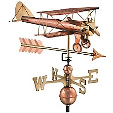image of Good Directions Biplane with Arrow Weathervane in Copper