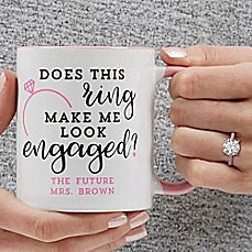 image of Does This Ring Make Me Look Engaged 11 oz. Coffee Mug in Pink