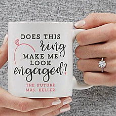 image of Does This Ring Make Me Look Engaged 11 oz. Coffee Mug in White