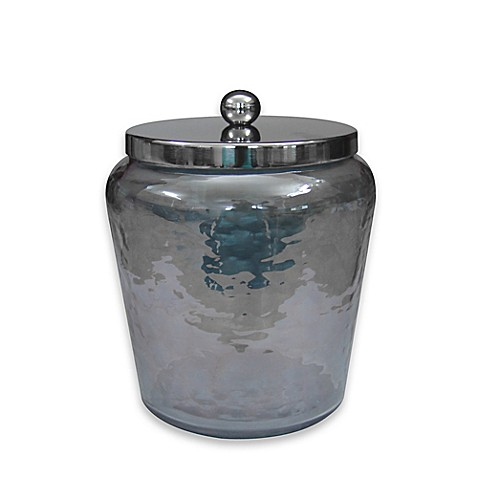 Buy small hammered smoke glass jar from bed bath beyond for Small bathroom jars