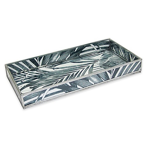 Leaf Print Decorative Glass Vanity Tray In Black Bed