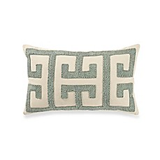 image of Ribbon Embroidered Oblong Throw Pillow in Spa