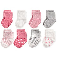 image of Hudson Baby® 8-Pack Dots and Stripes Chenille Socks in Pink/Grey