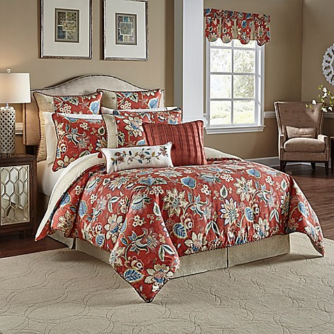 Buy Waverly Brighton Blossom Reversible King Comforter Set In Red From Bed Bath Beyond
