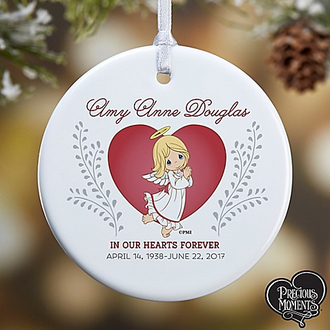 this precious moments 1 sided glossy memorial christmas ornament