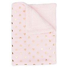 image of Thro Isabella Foiled Hearts Jersey Baby Throw