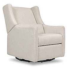 image of Babyletto Kiwi Swivel Electronic Recliner in White Linen