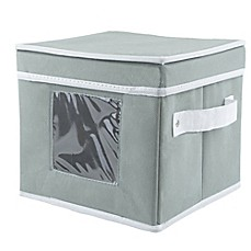 Image Of Dessert Plate Dishware Storage Box In Grey
