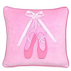 image of levtex home brittney ballerina slippers square throw pillow in pink