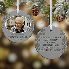 image of In Loving Memory Photo Memorial 2-Sided Christmas Ornament
