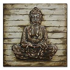 Image Of Metal Buddha On Washed Wooden Panels Wall Art
