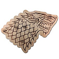 image of Game of Thrones Stark Direwolf Sigil 11-Inch x 8-Inch Bamboo Cutting Board