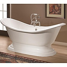 image of Cheviot Regency 72-Inch Cast Iron Bathtub with 7-Inch Drill and Pedestal Base in White