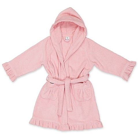 Linum Home Textiles Small Turkish Cotton Hooded Bathrobe in Pink