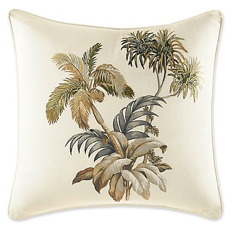 Tommy Bahama 174 Nador Palm Square Throw Pillow In Ivory