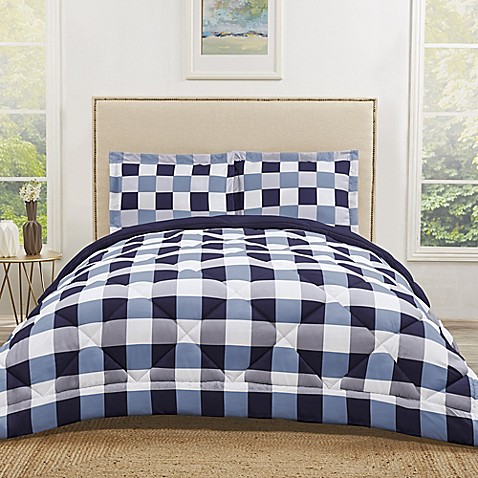 Truly Soft Buffalo Plaid Reversible Comforter Set Bed