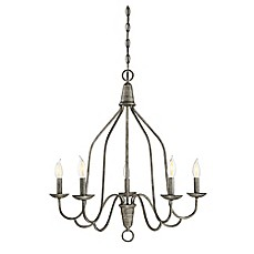 image of Filament Design 5-Light Ceiling-Mount Chandelier in Distressed Wood
