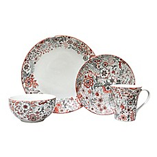image of 222 Fifth Evangeline 16-Piece Dinnerware Set in Red