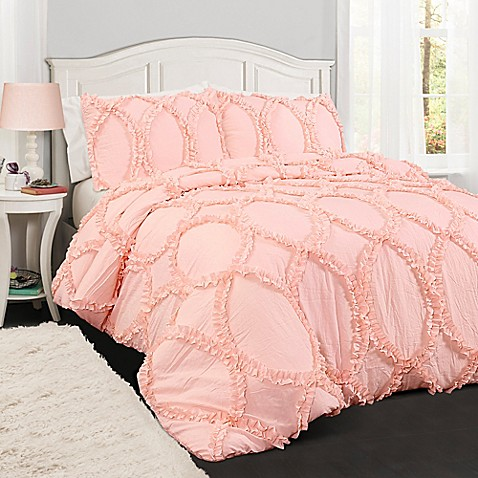 buy lush d cor avon 3 piece full queen comforter set in light pink from bed bath beyond. Black Bedroom Furniture Sets. Home Design Ideas
