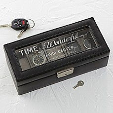image of Timeless Message Leather 5-Slot Watch Box