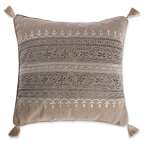 Levtex Home Marcell Burlap Square Throw Pillow in Natural - Bed Bath & Beyond
