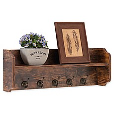 image of Danya B™ Wood Utility Wall Shelf with Hooks in Aged Pine