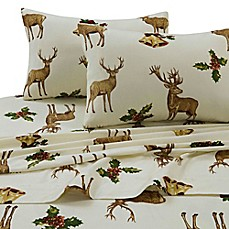image of Tribeca Living 170 GSM Holiday Reindeer Flannel Sheet Set