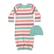 image of Finn by Finn + Emma® Size 0-3M Organic Cotton 2-Piece Striped Gown and Hat Set