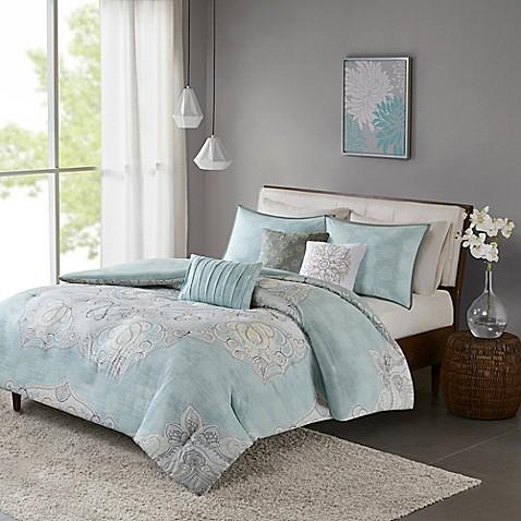 buy madison park lucinda reversible king california king duvet cover set in blue from bed bath. Black Bedroom Furniture Sets. Home Design Ideas