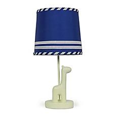 image of the peanut shell giraffe stripe lamp base and shade in bluesteel