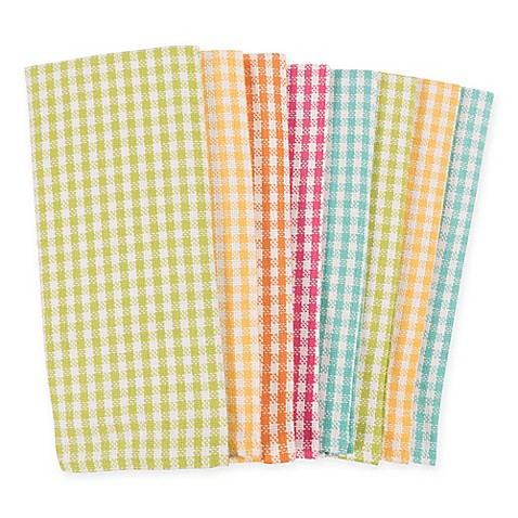 8 Pk Kaf Home Malibu Gingham Multi Kitchen Towels