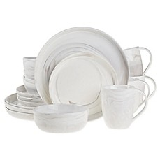 image of Artisanal Kitchen Supply® Coupe Marbleized Coupe 16-Piece Dinnerware Set in Grey