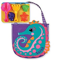 image of Stephen Joseph® Seahorse Beach Tote with Sand Toys